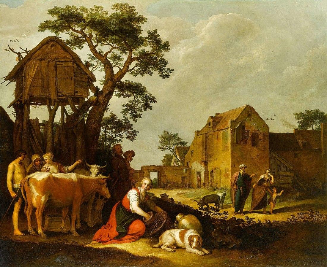 """The Expulsion of Hagar and Ishmael."" 17th c."
