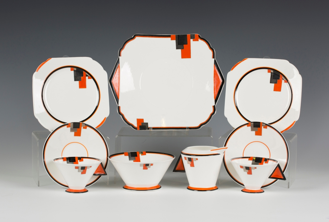 Part of a tea service in the Vogue shape Red Block design.