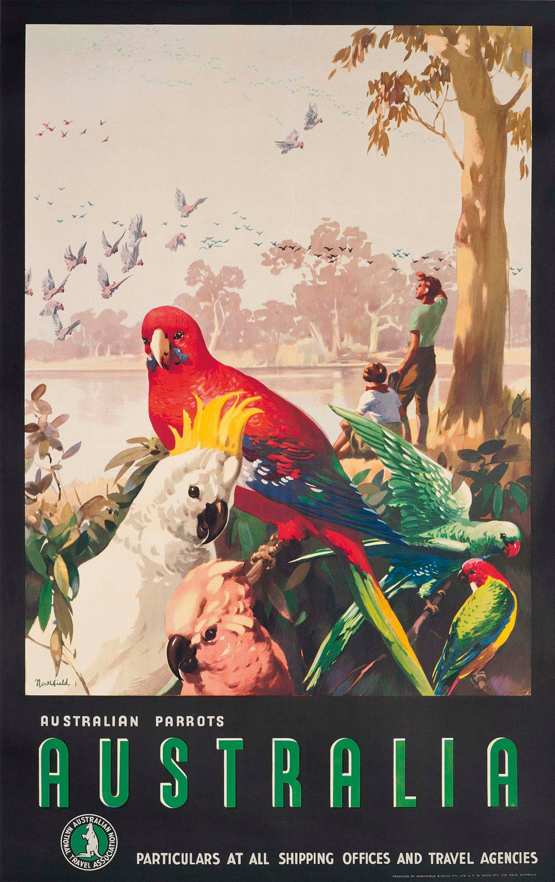 """Parrots."" ca. 1935. Offset lithograph in colors."