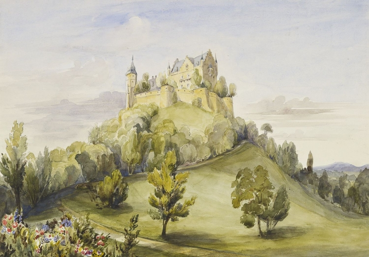 """View of Schloss Callenberg from the Park. ca. 1845."