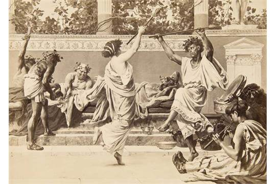 "Silver gelatin print of a wall painting from the  six-part cycle ""The Roman Life"" that was  made for the Café Bauer in Berlin. Photograph after an original painting that was a   collaboration between von Verner and Christian Wilberg. ca. 1880."