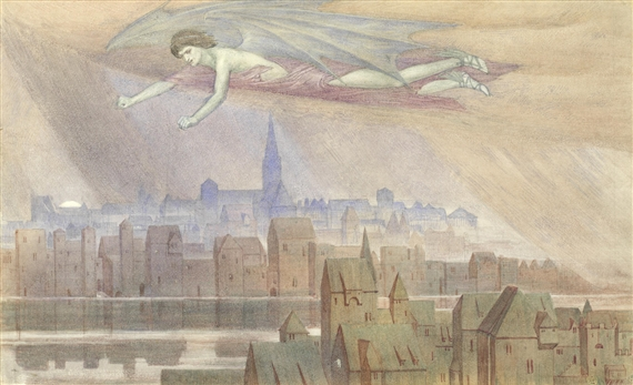 """Lucifer flying over the city,"" an illustration for Longfellow's ""The Golden Legend."""