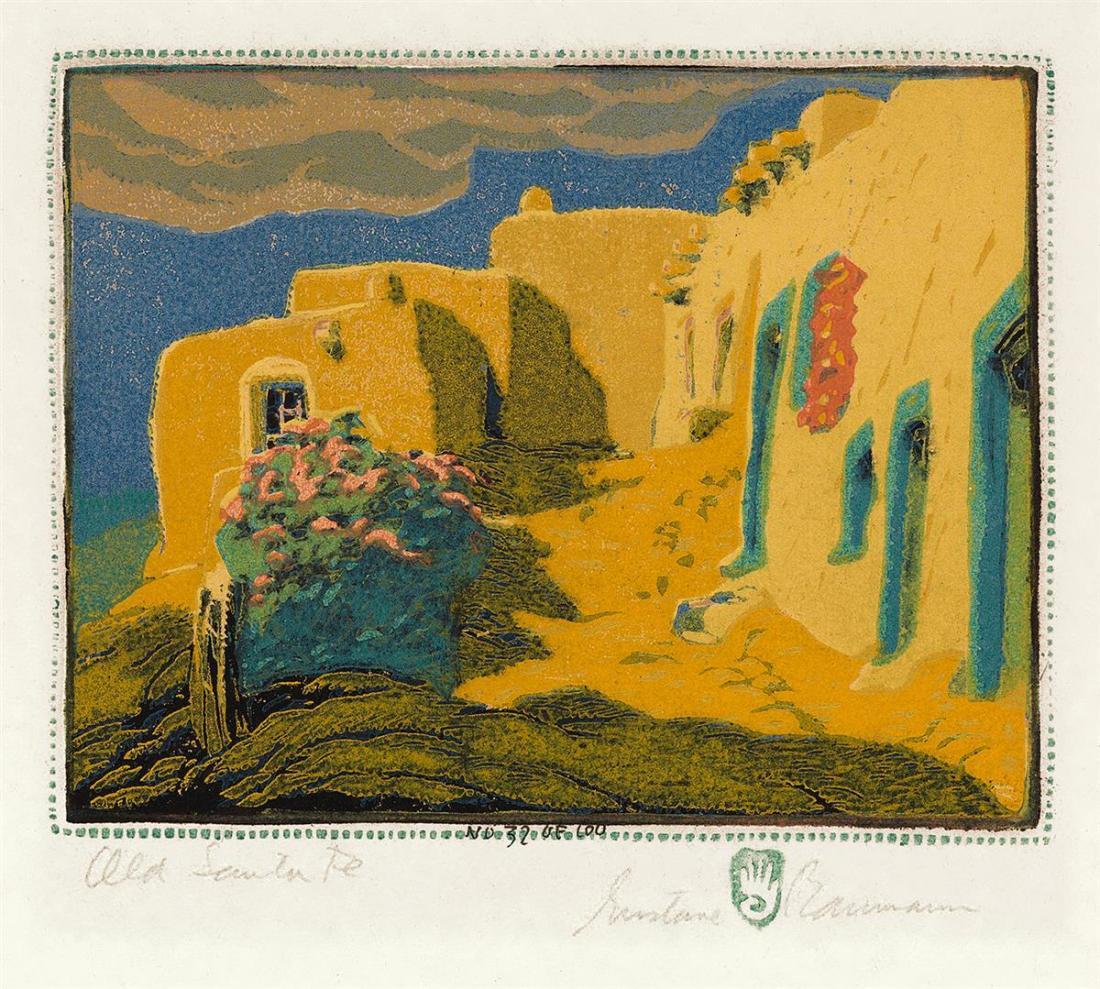 """""""Old Santa Fe."""" 1924. Color wood cut."""