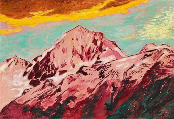"""Mountain Peaks, Switzerland."" 1926. Oil on canvas."