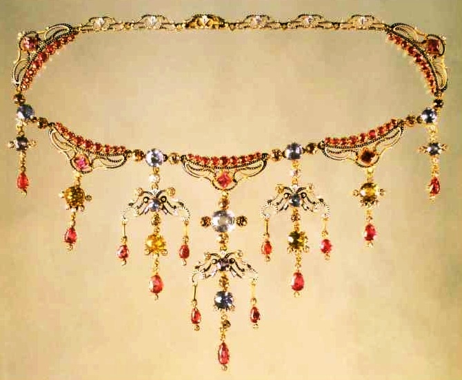 Necklace. 1895. Gold with enamel and gems.