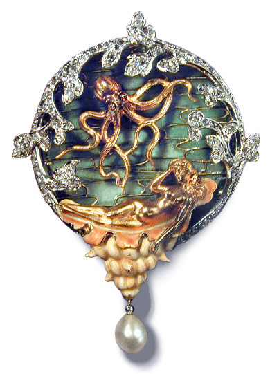 Brooch depicting a sea-maiden reclining on a shell accompanied by a suspended octopus with ruby eyes. ca. 1900.