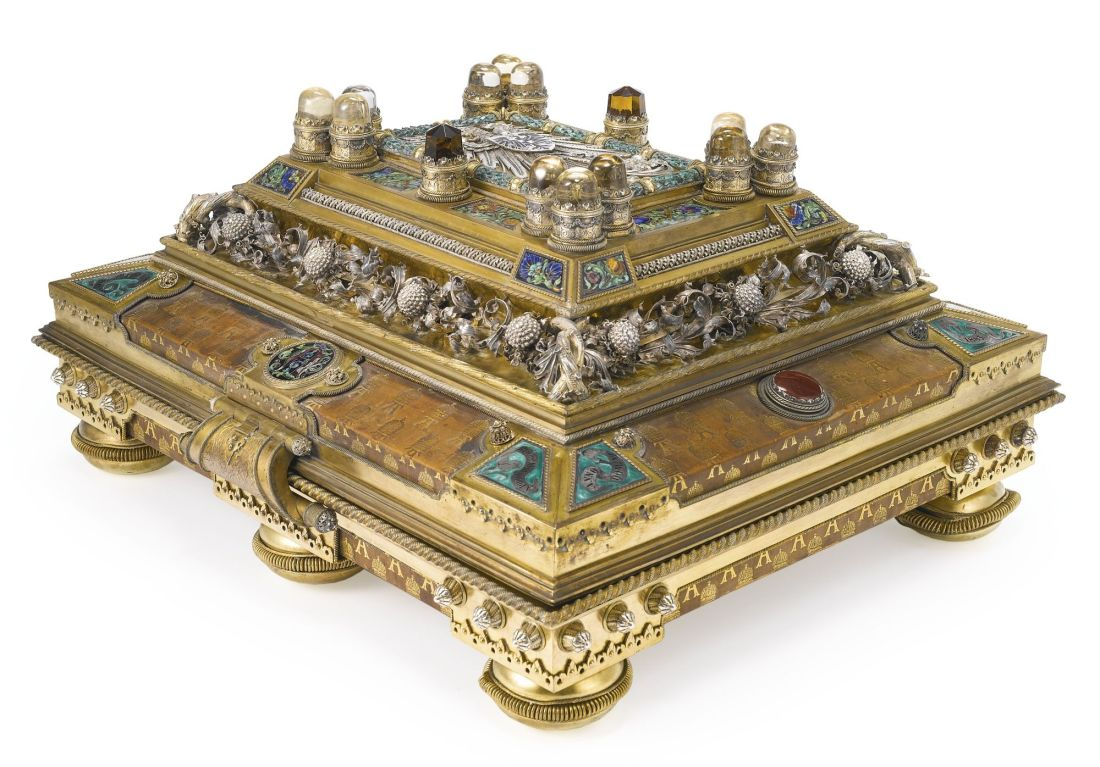 Presentation casket that may have contained a rare bible, made for Tsar Alexander III.