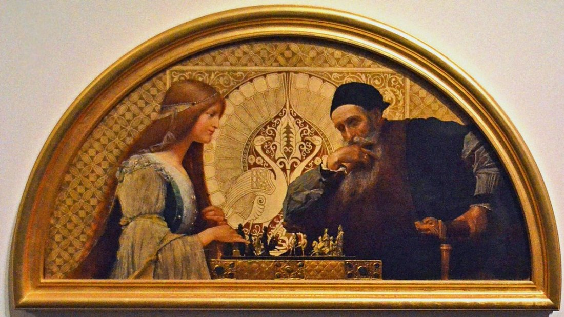 """Leonardo da Vinci playing Chess with his Muse."" ca. 1895."