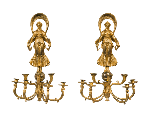 "Pair of ""Psyche and Cupid"" seven-light wall sconces. ca. 1810."