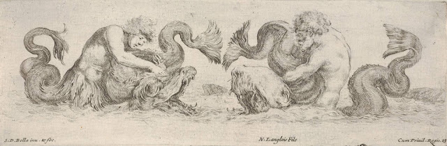 """Tritons Wrestling with Fanged Sea-Creatures."" ca. 1645-50."