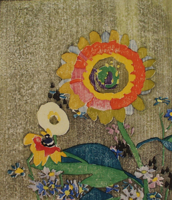 """""""Sunflowers."""" ca. 1915-16. Colored woodblock."""
