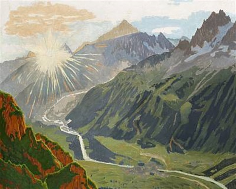 """Sunrise, the Chamonix Valley."" No exact date. Oil on canvas."