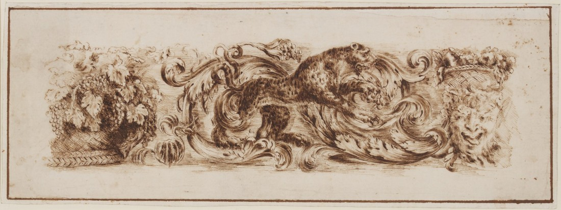 """Design for a frieze with a leopard and a grotesque head."" ca. 17th c."
