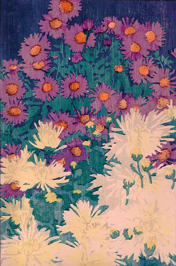 """""""Purple Asters."""" ca. 1910-13. Woodcut printed in colors."""