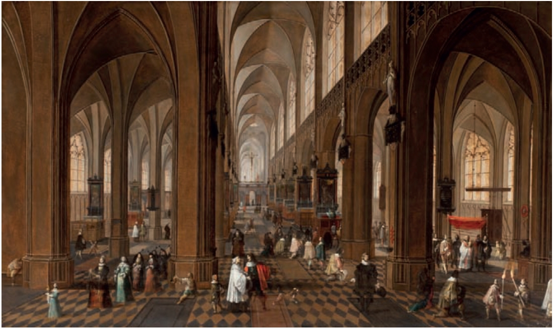 """The Interior of the Onze-Lieve-Vrouwe-Kerk in Antwerp with elegant Figures conversing."" 1640-1675."