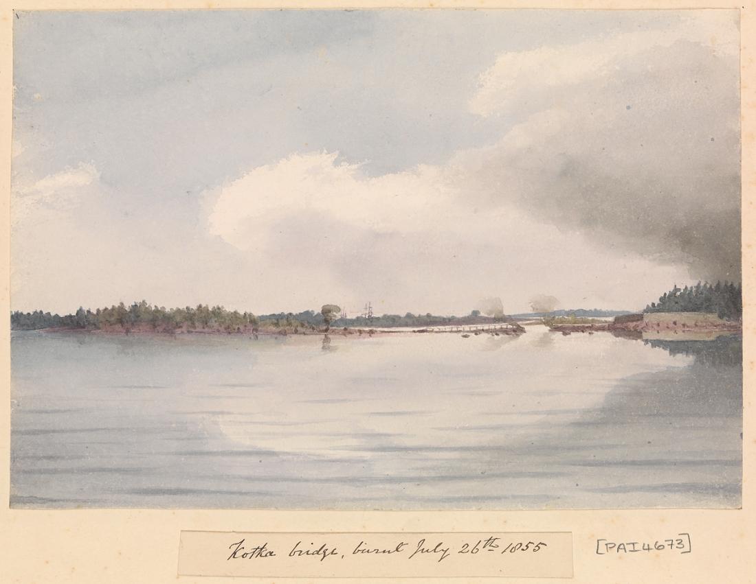 """Kotka bridge, burnt July 26th 1855"" (Finland). 1855."