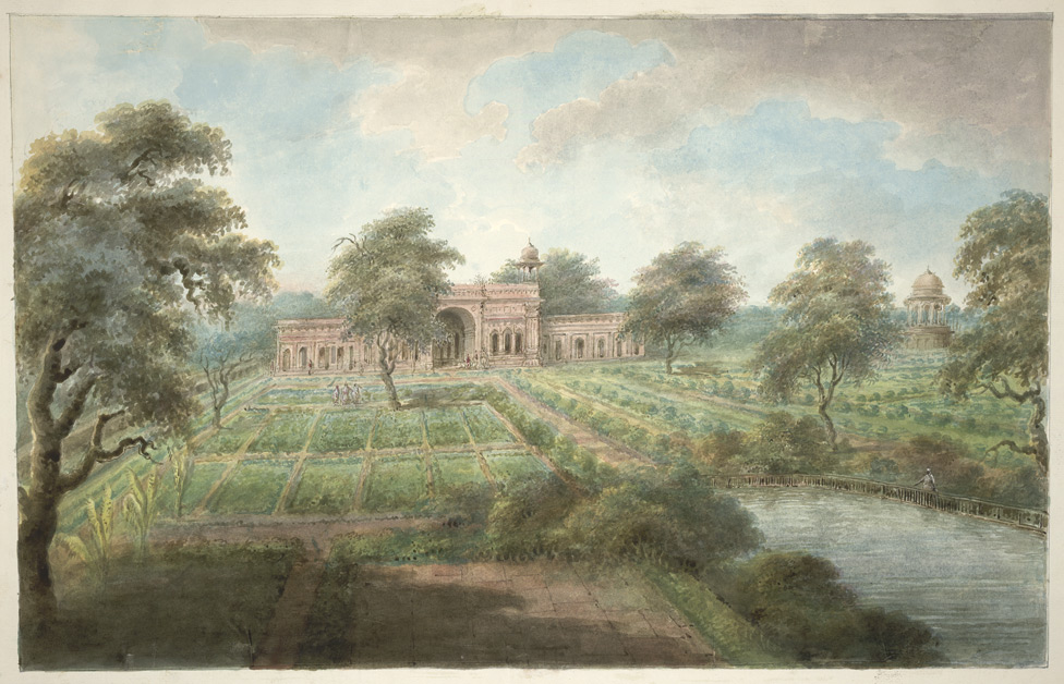"""The Mughal Shalimar Gardens north of Delhi,"" from ""Views by Seeta Ram from Gheen to Delhi' Volume VI. 1815. Watercolor."