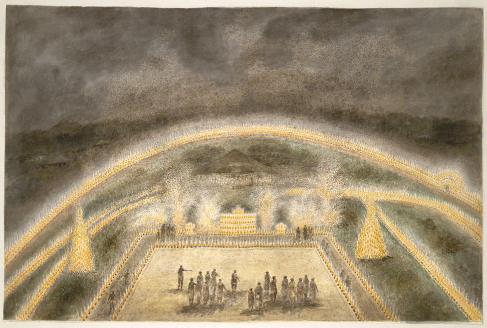 """Illuminations and fireworks round Mr. Donnithorne's park, Fatehgarh,"" from ""Views by Seeta Ram from Agra to Barrackpore."" 1815."