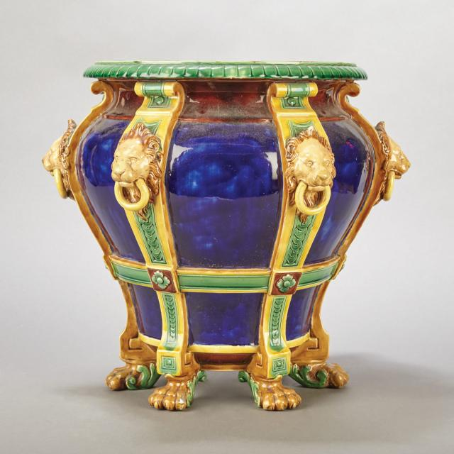 Urn form Majolica planter in the Neoclassical style.