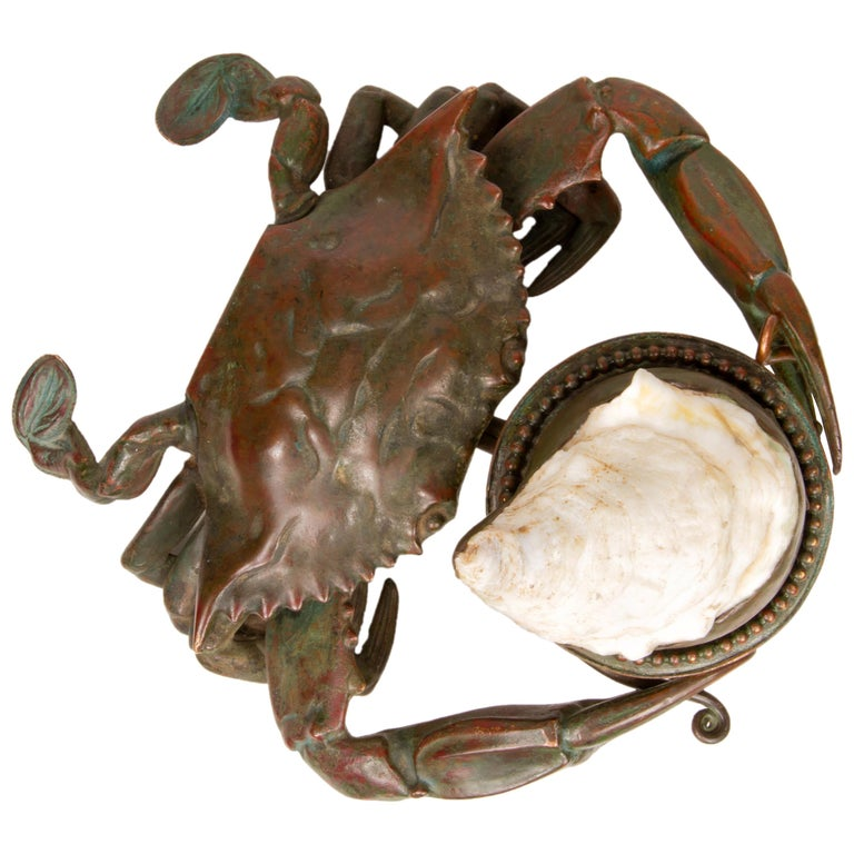 Crab inkwell with lid that opens to a clear glass inkpot. ca. 1900-1910. Art Nouveau