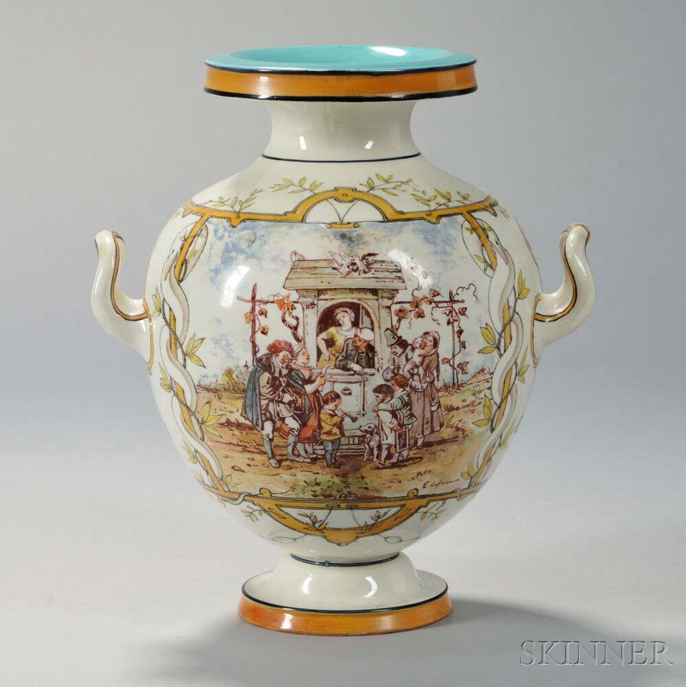 Queens' ware vase. ca. 1862.