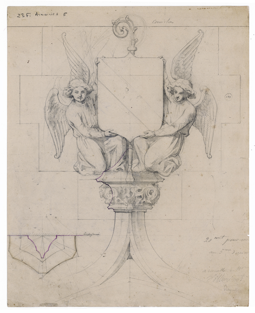 """Two angels supporting a coat of arms above the principle entrance to the tower,"" for the Church of Saint-Germain-l'Auxerrois, Paris. Drawing. 19th c."