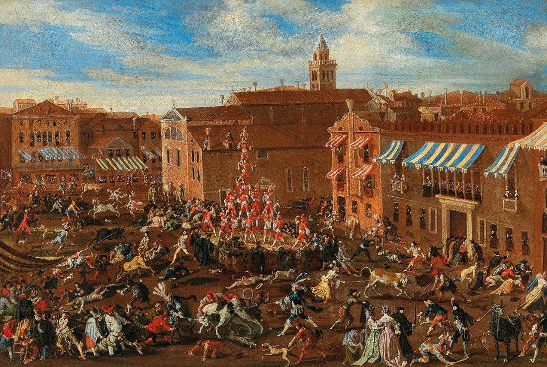 """""""Die Stierhatz auf dem Campo San Polo in Venedig."""" 1623-1678."""