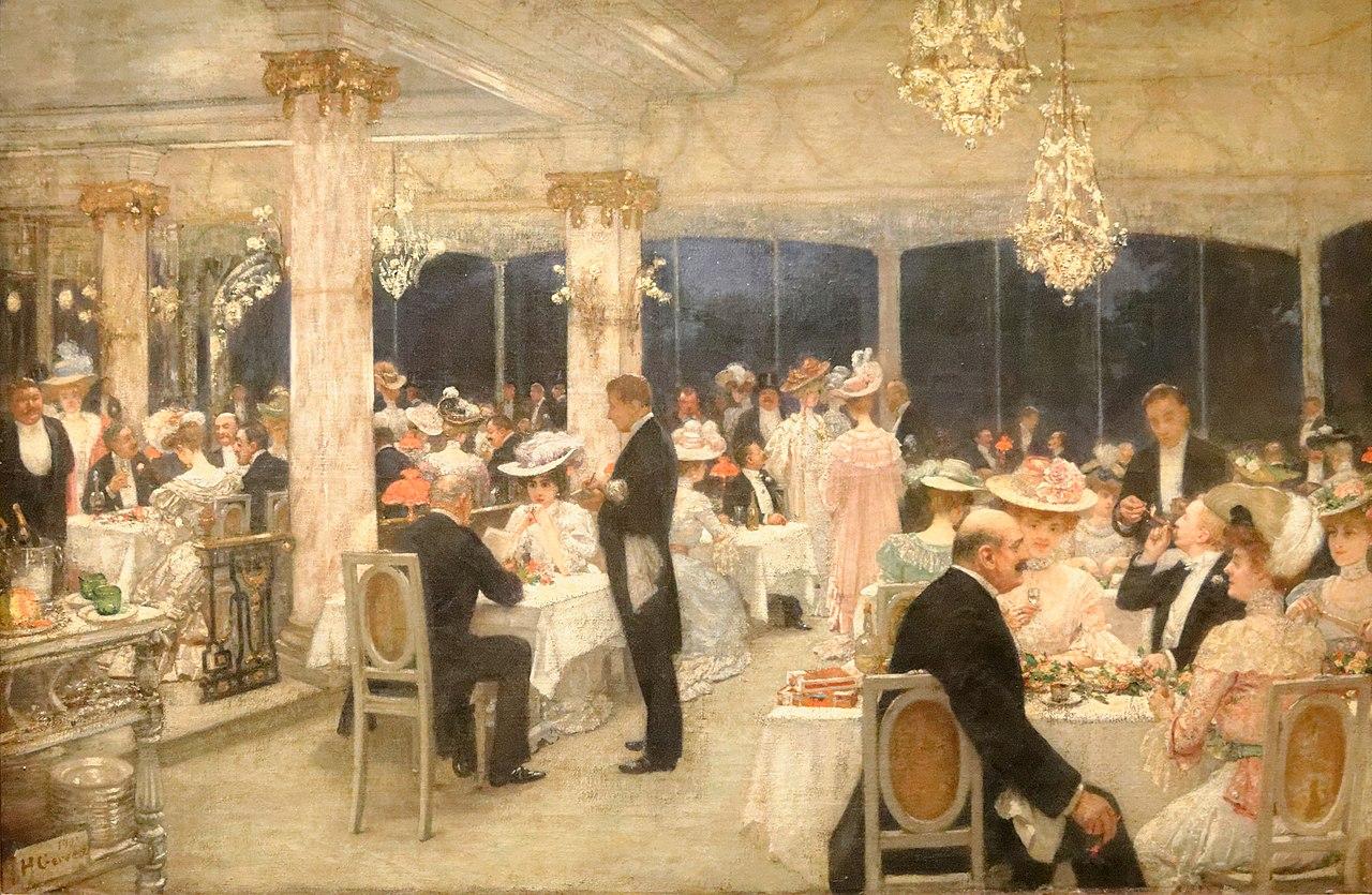 """""""Un soir de grand prix au pavillon d'Armenonville."""" 1905."""