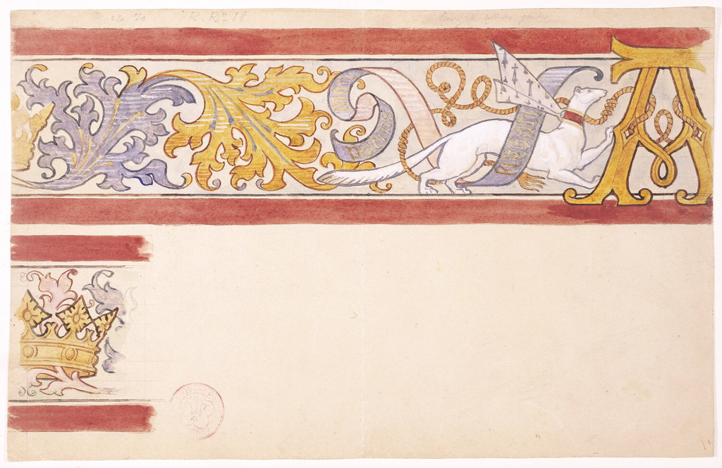 """Design for a Frieze Decoration with Ermine and Monogram of Anne of Brittany."" Drawing. 1830-1860."