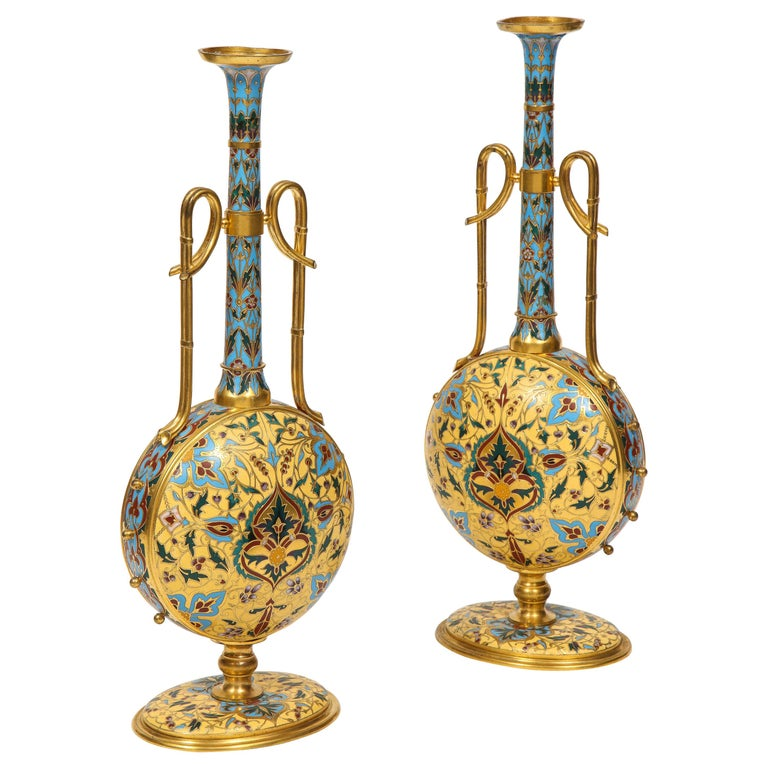 Pair of vases in the Persian style. ca. 1870.