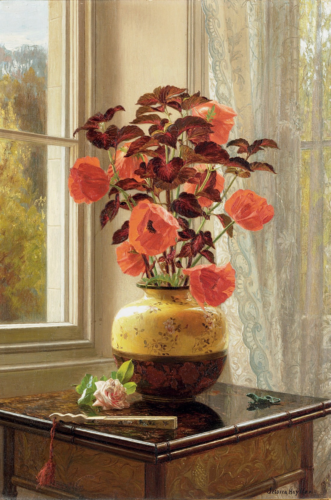 """Oriental Poppy and Coleus in a Cloisonné vase, with a fan on a faux bamboo table."""