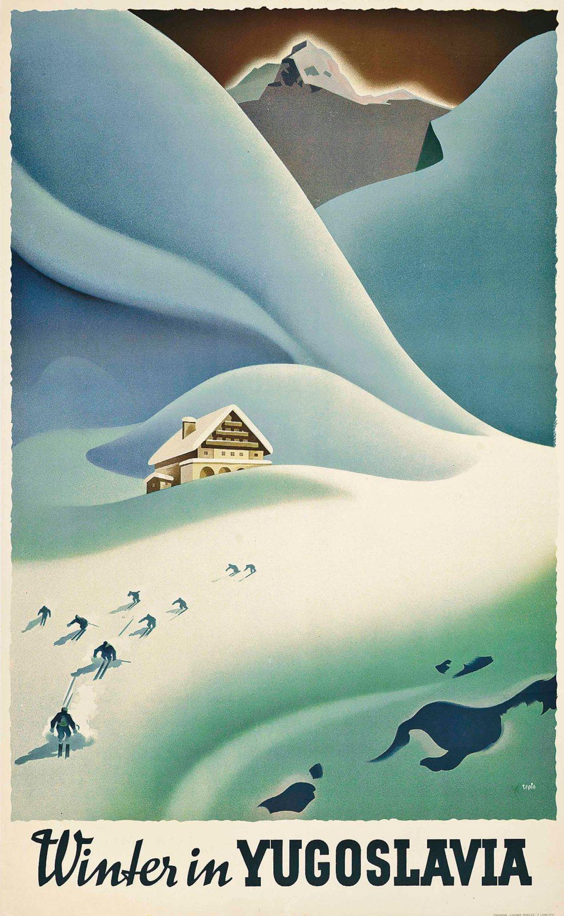 """""""Winter in Yugoslavia."""" 1936. Color lithograph."""