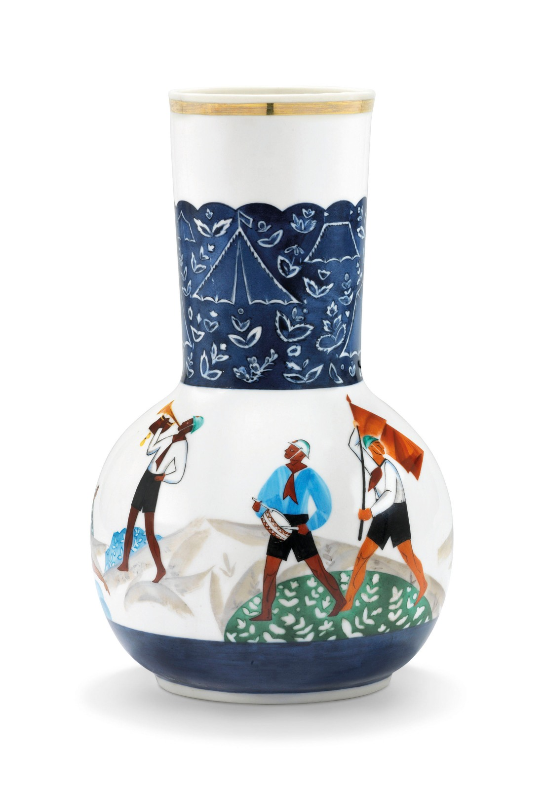 "Bottle form vase after a design by  Mikhail Mokh, of bottle form, painted with young Soviet pioneers carrying a flag, playing volleyball, and swimming, with the neck decorated with tents. 1930. Unmarked but inscribed in Russian and dated ""Mokh. M. / 1930 / III"" under the base."