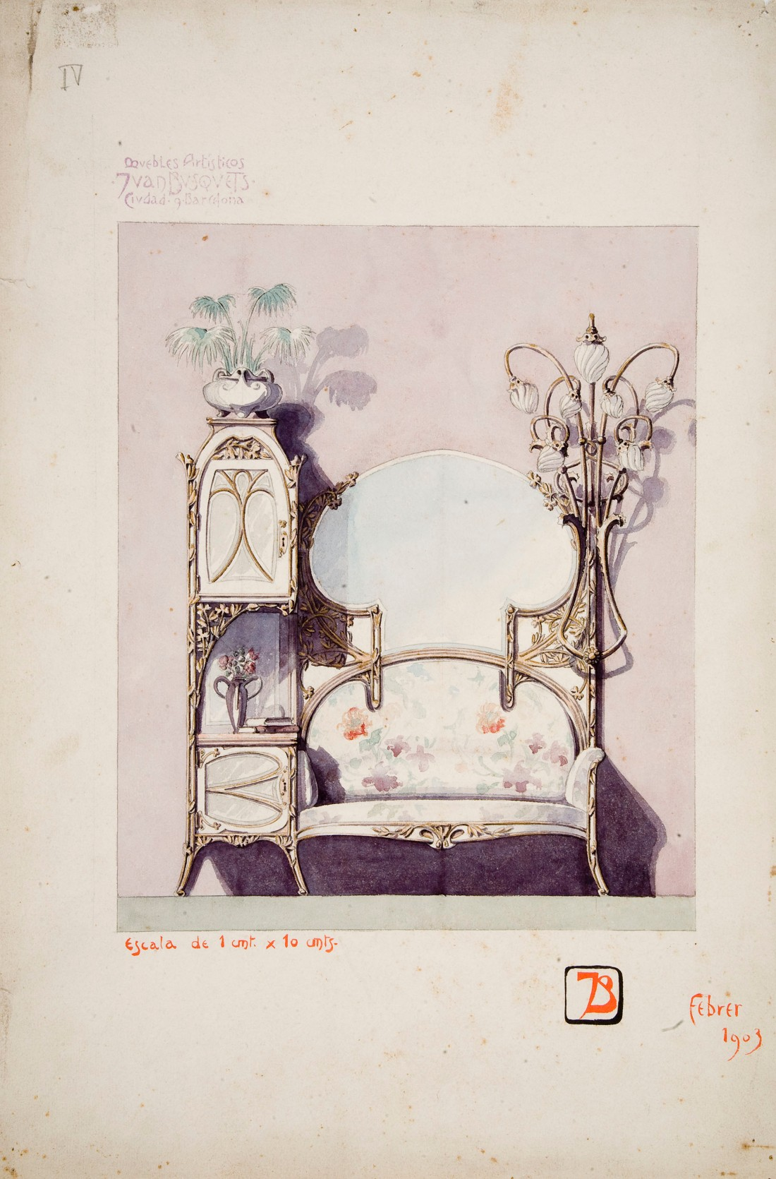 """Moble de rebedor."" 1903. Watercolor and graphite on paper."