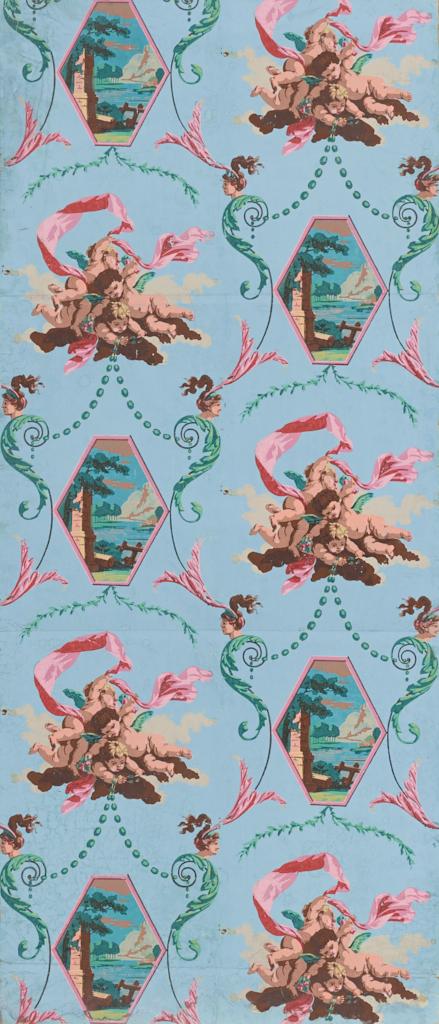"""Arabesques, Cupids, and Landscapes"" design. ca. 1780."