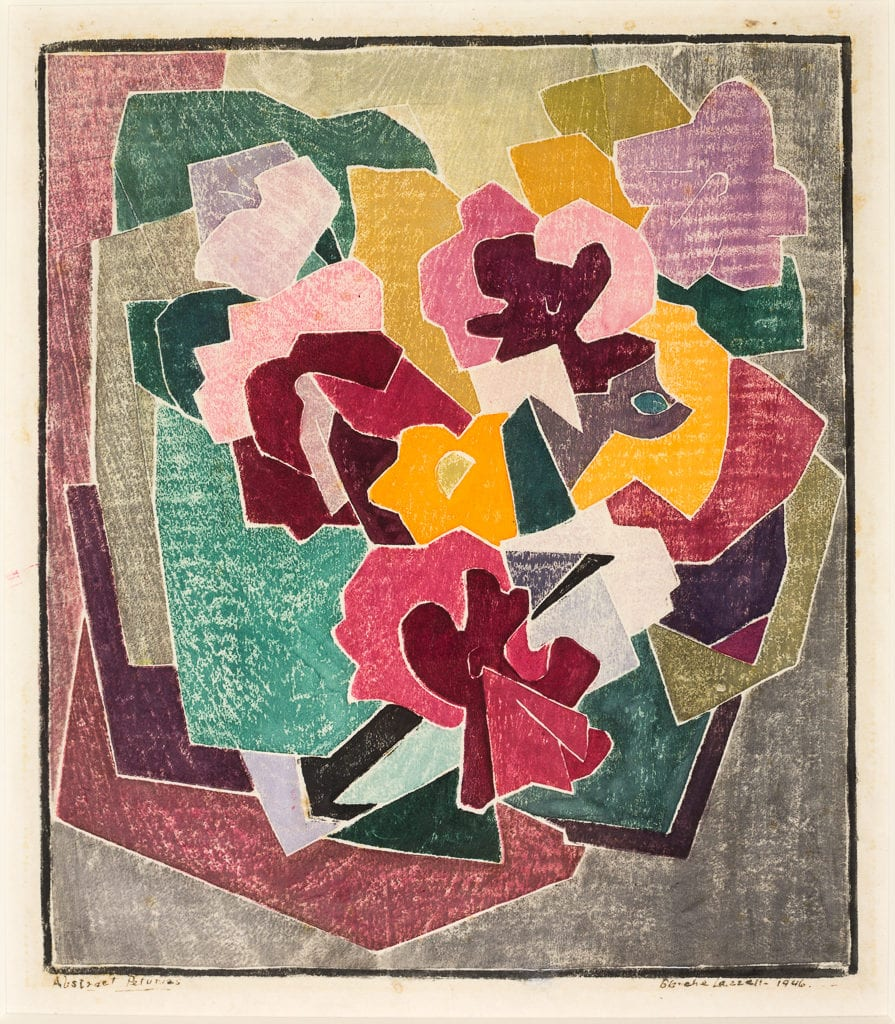 """Abstract Petunias.'' 1946, Color woodcut on laid Japan paper."