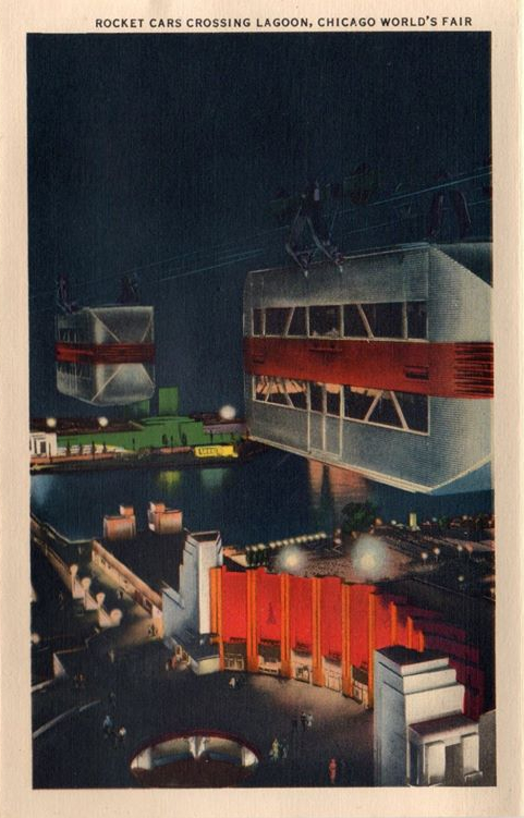 """Rocket Cars crossing Lagoon, Chicago World's Fair."" Vintage postcard."