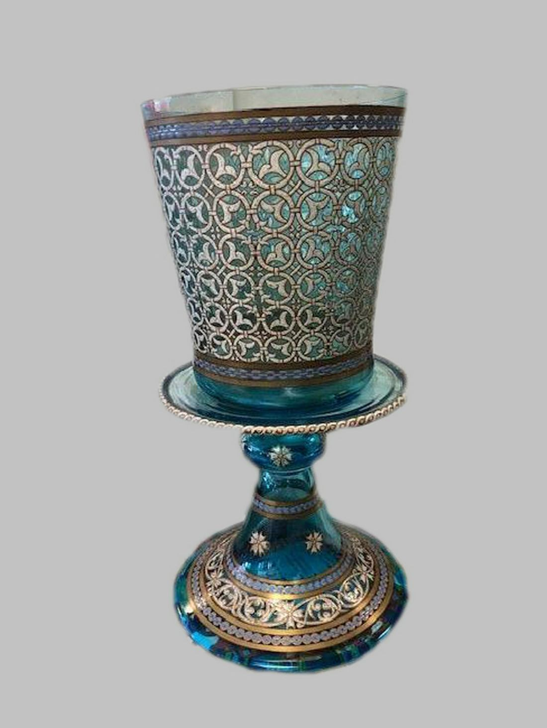 Blown glass goblet with enamel and gilt. 19th c.