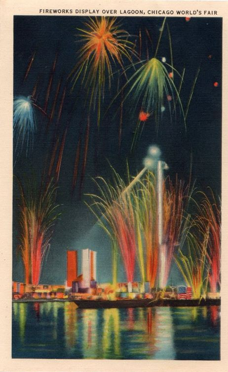 Fireworks Display over Lagoon, Chicago World's Fair.""