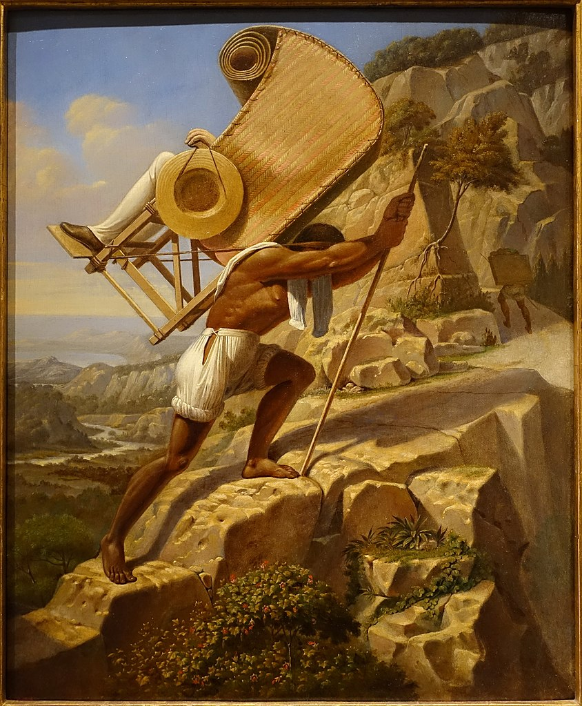 The artist carried in a sillero over the Chiapas from Palenque to Ocosingo, Mexico. ca. 1833.