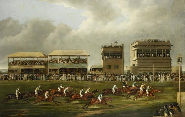 """The Wokingham Stakes."" 19th c. Oil on canvas. Signed."