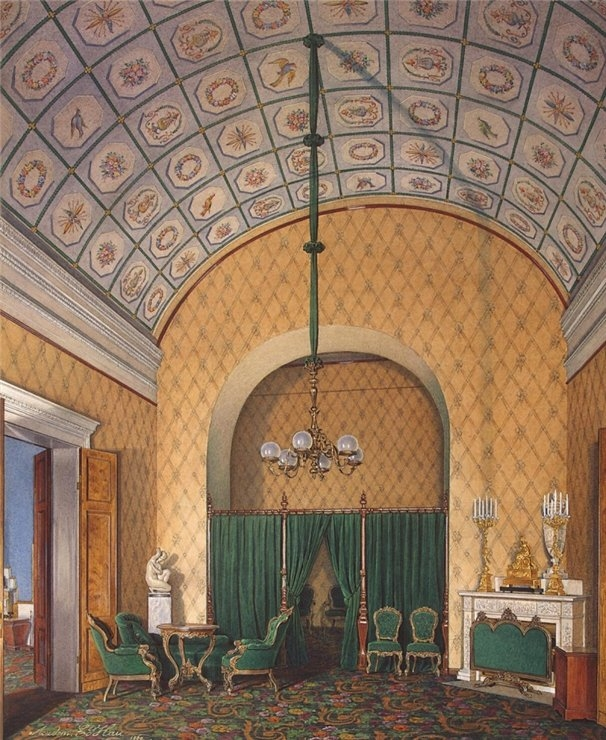 Bedroom in the second reserved apartment, from the series Interiors of the Winter Palace.1850's. Russian. Watercolor. Edward Petrovich Gau, artist(1807-1887). via englishrussia.com.