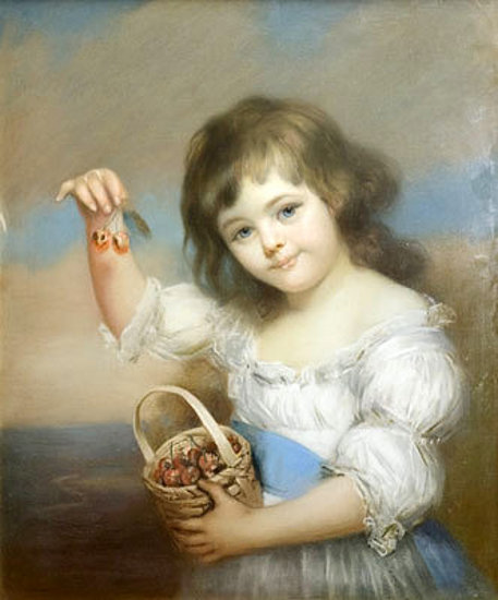 """Child holding Cherries."" No exact date. In the public domain."