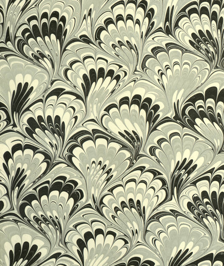 "Marbled paper in a ""Peacock"" pattern. 1900-1999."