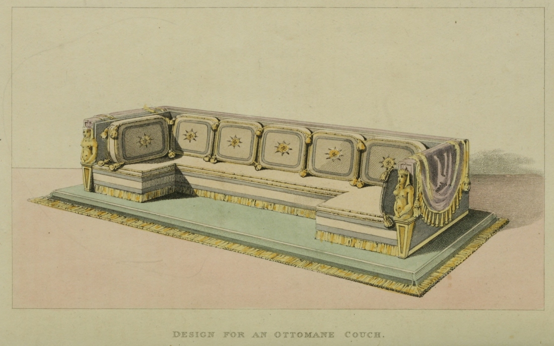 """Design for an ottoman couch.""  Plate 2. 1814."