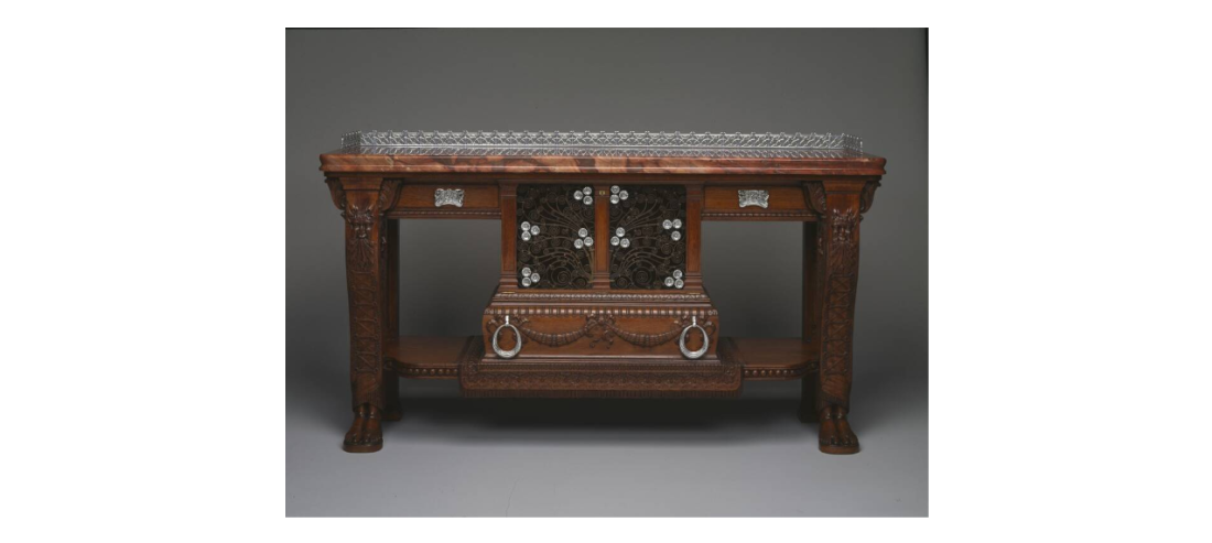 Console table commissioned for the ground floor atrium. ca. 1881-82. Marble, silverplate and bronze.