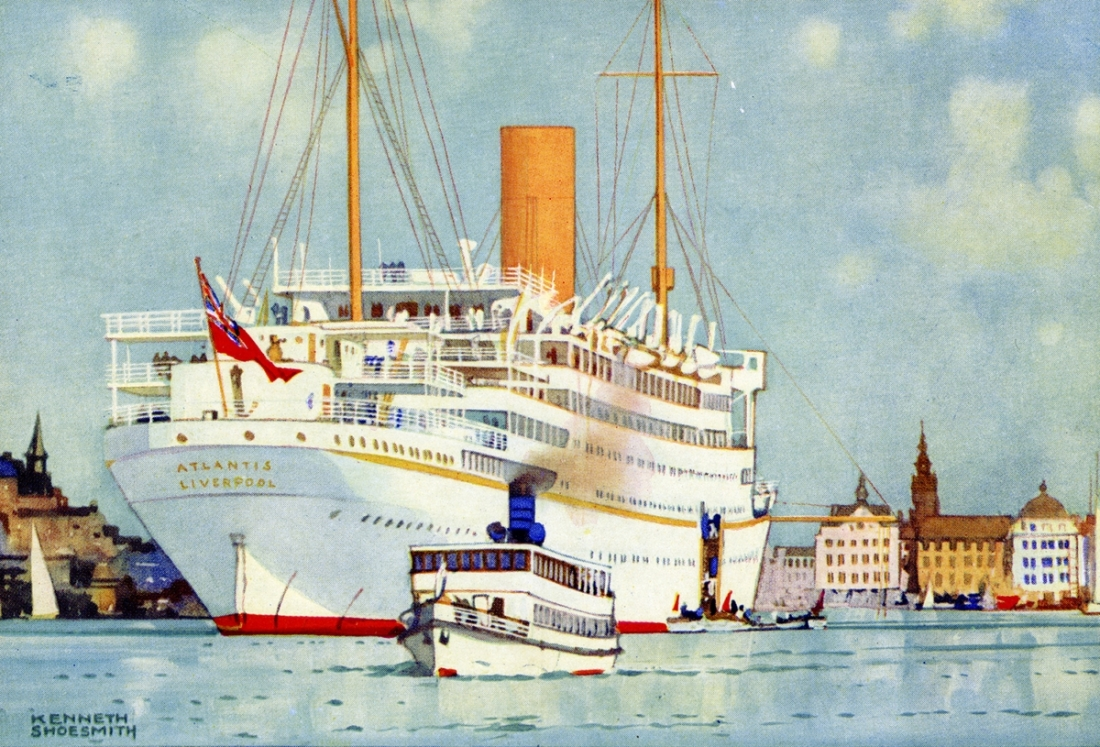 """Royal Mail Cruising Steamer ""Atlantis"" at Stockholm."" 1913."