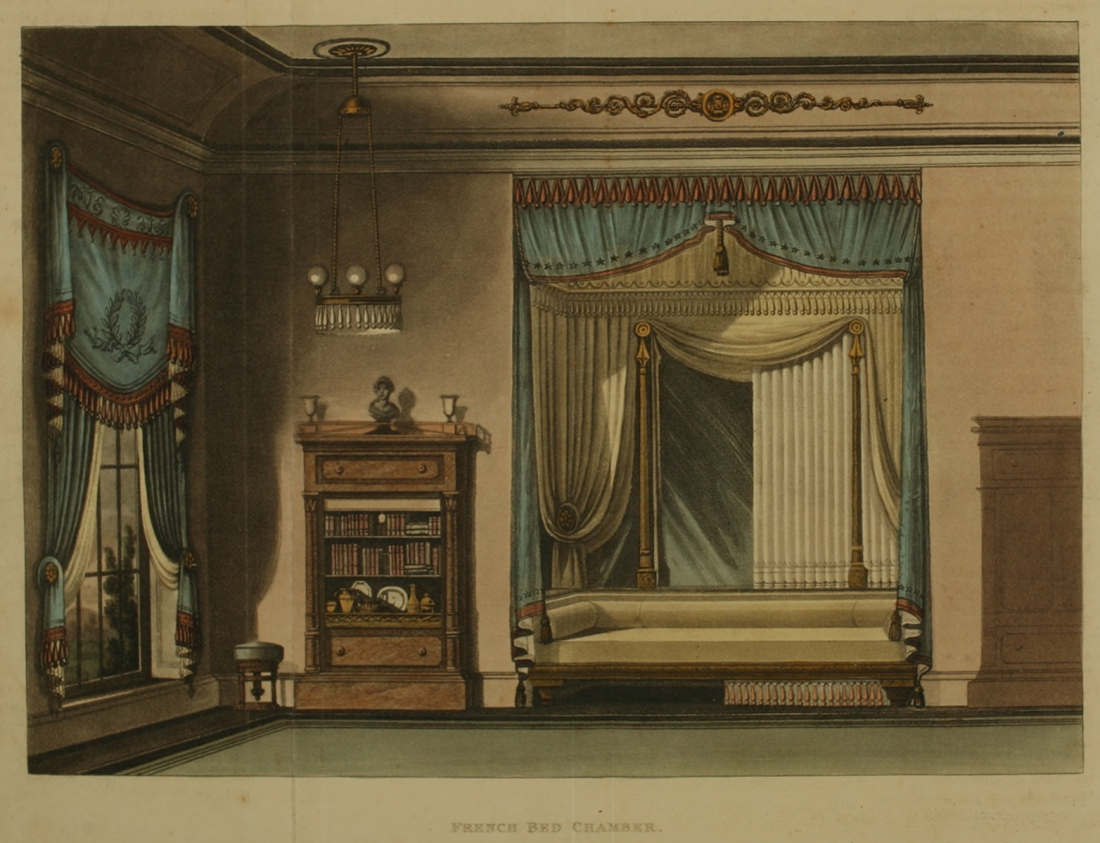 French bed chamber. Plate 23. 1815.