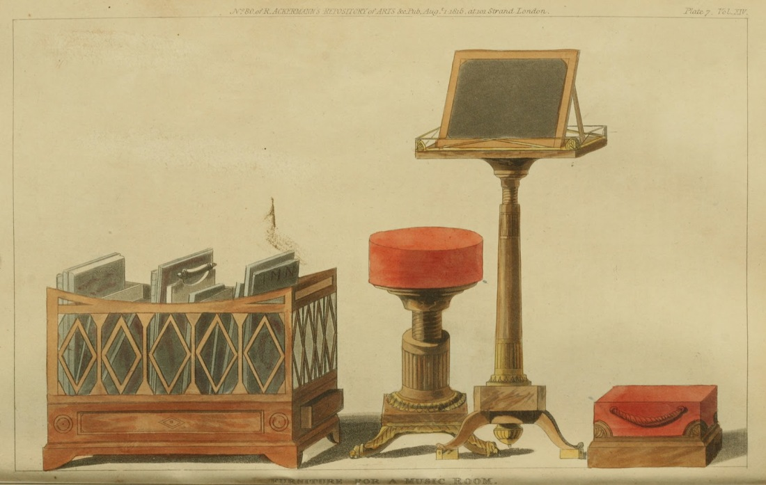 Furniture for a music room. Plate 7. 1815.