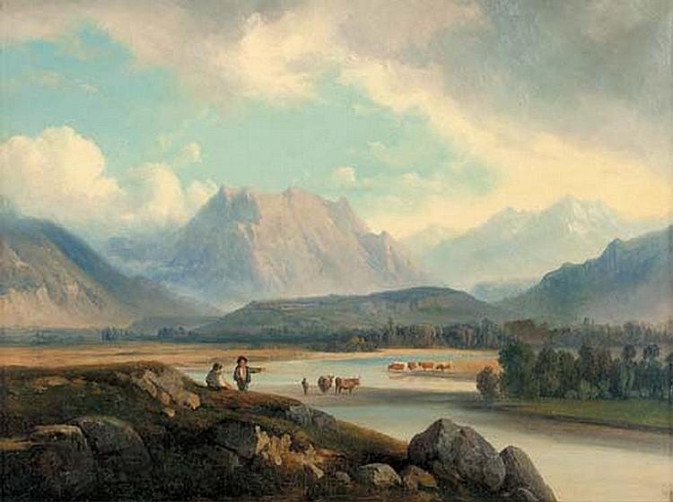 """""""Troupeau dans un gué au pied des montagnes."""" 19th c."""